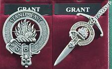 Grant Scottish Clan Crest Pewter Badge or Kilt Pin
