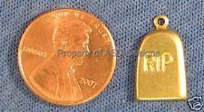 50pc Raw Brass Halloween R.I.P Stone Charms 4563
