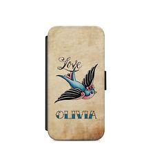 Old School Tattoo Personalised Wallet Flip phone Case Name iPhone Samsung c35