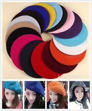 1X Mode Frauen Einfarbig Wollmischung Baskenmütze Kappe Künstler Strickmütze Hut