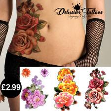 WOMENS 3D TEMPORARY TATTOO ROSE, PEONY FLOWERS, TRANSFERS WATERPROOF BODY ART
