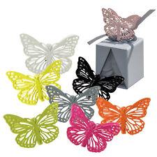 4 Schmetterlings-Dekoklammern 3,5cm x 3cm Pink aus Metall