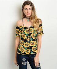 MOCHA Sunflower Open Shoulder Short Sleeve Top - S, M, L