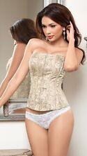 Elegant Romance Ivory Corset, Lace-Up Back & Front Zipper by Escante Lingerie.