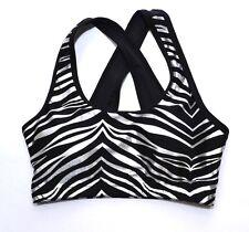 Sports Crop Top Silver Zebra S M L Padded Sports Bra Gym Womens Ladies Fitness