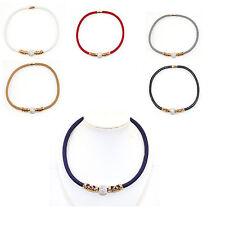 Shiny Fabric Chain Necklace with Large Shamballa Bead Rose Gold Decorative Tube