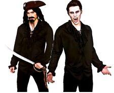 Adult BLACK PIRATE SHIRT Ruffle Front Halloween Mens Fancy Dress Costume Vampire
