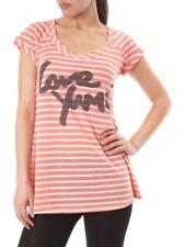 YUMI blouse style corail & cream à rayures t-shirt bnwt détail £ 30 taille s/m