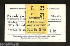 "Bette Davis ""WORLD OF CARL SANDBURG"" 1959 FLOP Brooklyn, New York Ticket Stubs"