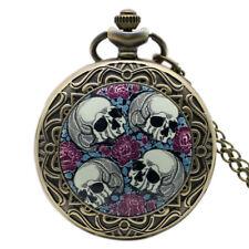 Vintage Four Skulls Flower Bone Men Boy Quartz Pocketwatch Chain Halloween Gift