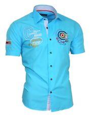 Binder de Luxe Hemd Polo Shirt Kurzarm Stick Herrenhemd 82504 türkis M bis 5XL