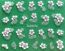 Rose Chrysanthemum Flower Golden or Silver Rhinestone 3D Nail Art Sticker BLE347