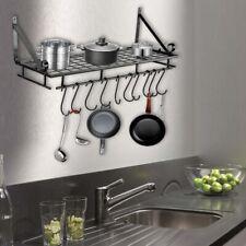 Kitchen Hanging Shelf Iron Pot Pan Rack Wall Mount Utensils Storage Organizer UK