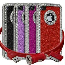 Housse Etui Coque Paillette et Diamants pour Apple iPhone 4/4S + chargeur auto