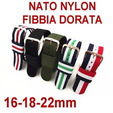 CINTURINO OROLOGIO NYLON NATO FIBBIA DORATA ORO 16mm 18mm 22mm NERO ROSSO BLU
