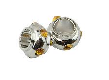 5 Dischi Argento Distanziatore Perline Charm a BOTTE con Gemme Ambra Strass 7x5mm (8-98)