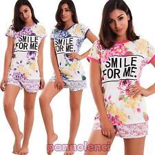 Pigiama donna fiori maglia scritta pantaloncini intimo lingerie sexy nuovo 8264
