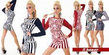 vestito donna mini abito maglia invernale fantasia righe&stemmi 4 colori ,tg u