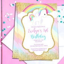Unicorn Birthday Party Invitation - Pastel Rainbow Glam Theme - Personalized