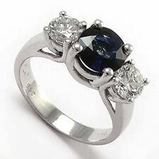 950 Platinum Anniversary Diamond Sapphire 3 Stone Ring: Sizes 4 to 9.5 #R669