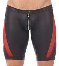 Mens Faux Leather Boxer Shorts Zipper Crotch Mesh Briefs Underwear Tight Pants