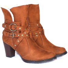 Womens Ladies Ankle Boots Mid Block Heel Zip Warm Fur Comfy Casual Shoes Sz 3-8