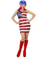 Costume Carnevale Donna Miniabito Miss America Vestito in Pailettes PS 19993