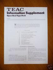 Information Supplement für Teac - Open Reel Tape Deck