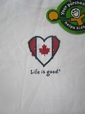 LIFE IS GOOD Canada Canadian Flag Maple Leaf Heart Love Girls SS TShirt NWT NEW