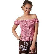 Trachtenbluse Carmen Ausschnitt Dirndl Bluse Damen Oktoberfest rot weiß kariert