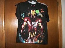 Iron Man  Blasting off black  t-shirt NWT sz 10-12 glow in the dark