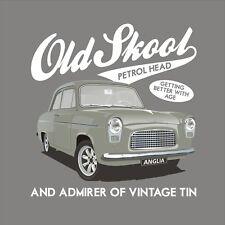 Ford Anglia 100E OldSkool Petrol Head Classic Car T Shirt Retro Vintage Gift