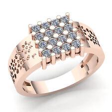 Genuine 1.5ct Round Diamond Mens Cluster Bridal Wedding Band Ring 10K Gold