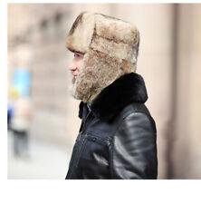 Real Rabbit Full Fur Russian Ushanka Hat Real Fur Hat Chapka Granpa Dad Gift