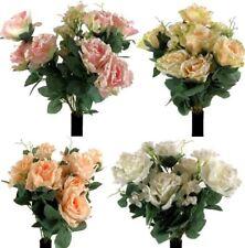NEVE ROSE Bush Con Perle Artificiali Di Seta Fiori Bouquet Nuziale FAKE