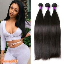 3Bundles straight human hair Brazilian Virgin hair bundles Extensions weave weft