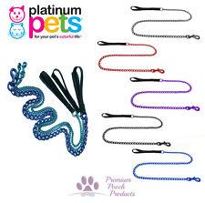 Platinum Pets MEDIUM Chain Dog Lead 1.2m (4ft) long Nylon handle Various colours