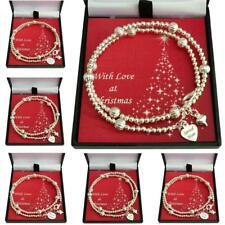 Pulsera de Navidad con perlas de plata y Etiqueta Grabado Para Mamá, hija Etc