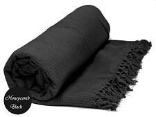 Black Honeycomb WAFFLE 100% Cotton SOFA / SETTEE / BED Throw + Tasselled Edging