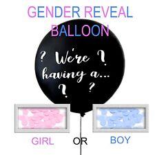 GENDER REVEAL BOY OR GIRL BABY SHOWER CONFETTI BLACK BALLOON JUMBO GIANT 90cm