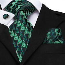 Christmas Tree Mens Silk Tie Lot Black Novelty Cufflinks Hanky Set Party Wedding