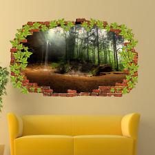 Sunshine Green Deep Forest Waterfall Wall Sticker Art 3D Poster Decal Mural RM1