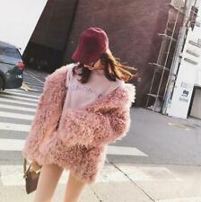 Women Winter Warm Faux Lamb Mongolian Fur Jacket Parka Mid Long Coat Oversize#@a