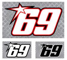 NUMERO 69 COURSE RACING NUMBER MOTO GP HAYDEN AUTOCOLLANT STICKER(NU004)