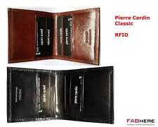 Pierre Cardin - Men's Bifold Wallet Genuine Italian Leather-Black Brown