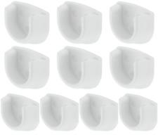 10x White Rail End Supports Brackets Oval Wardrobe Rails Poles 20mm 10 = 5 Pairs