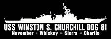 USS WINSTON CHURCHILL DDG 81 Silhouette Decal U S Navy USN Military