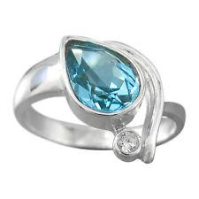 Schmuck-Michel Ring Silber 925 Blautopas Tropfen 2 ct  Gr. 50-65 wählbar (3370)
