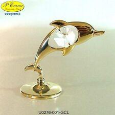 La Bomboniera Perfetta! DELFINO GOLD SWAROVSKI ELEMEMTS G0276-Min.12 pz.