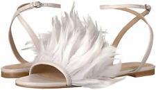 Pour La Victoire Layla Flat Feathered Sandal Ivory White Designer Fashion Sandal